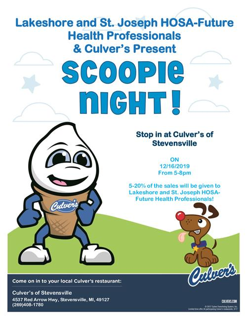 Lakeshore and St. Joseph HOSA- Future Health Professional's Give Back Night at Culver's 12/16 from 5-8pm.